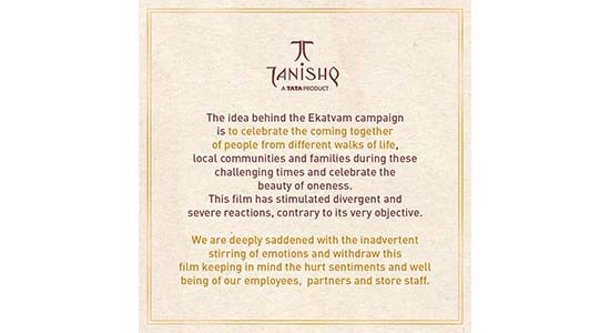 Tanishq withdrew advertisement after being trolled