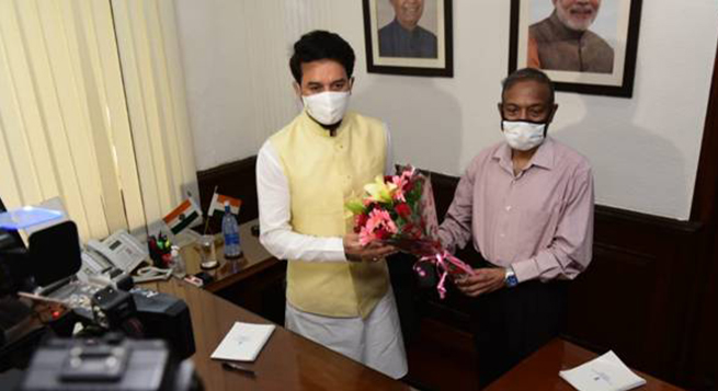 Anurag Thakur takes charge at MIB; so does junior minister